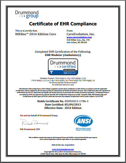 CareEvolution HIEBus 2014 Edition Core (Ambulatory) Modular Compliance Certificate 2014 Edition